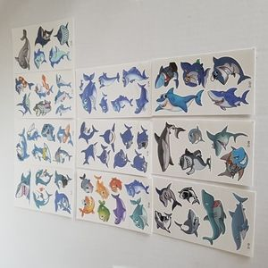 🆕 NEW Tatoos 10 Pages of Sharks Temporary Tattos